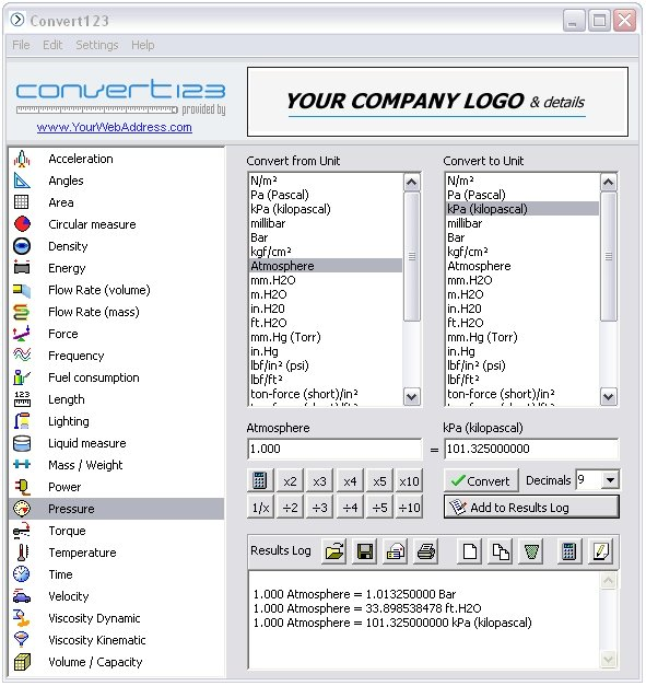 Convert 123 Software For Engineering Unit Conversions