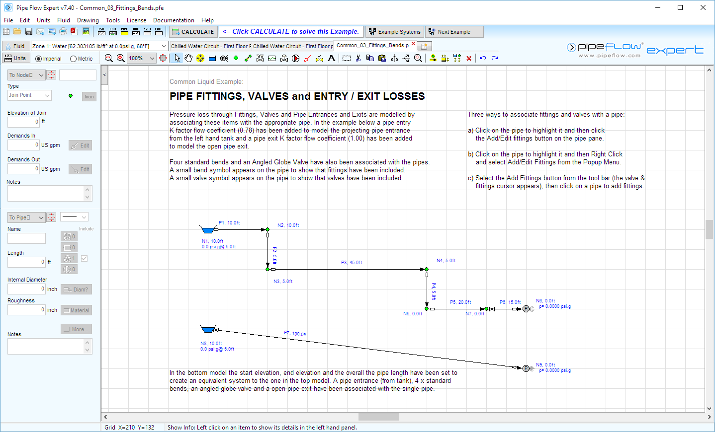 Pipe Flow Expert software fittings and bends