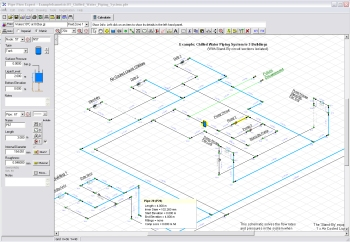 Screenshot of Pipe Flow Expert Software showing piping design drawing