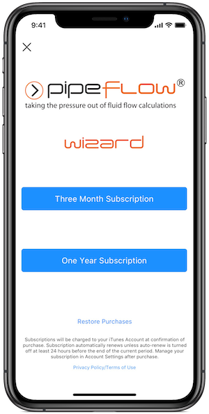 Pipe Flow Wizard Software for iOS Subscriptions
