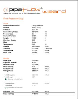 Pipe Flow Wizard Software PDF Report