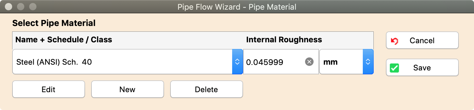 Pipe Flow Wizard Software Pipe Database Materials Screen